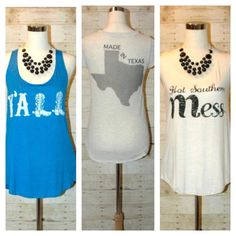 check out our awesome selection of summer tanks! all come in S/M/L