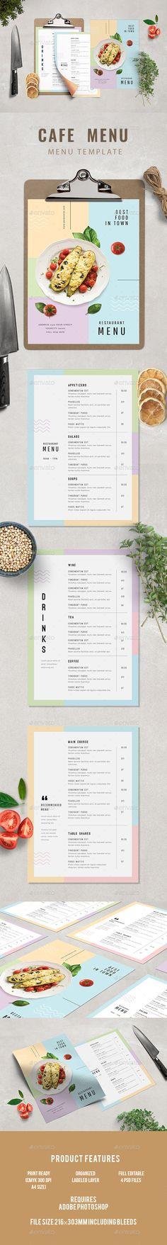 Cafe Menu — Photoshop PSD #cafe #simple food menu • Download ➝ https://graphicriver.net/item/cafe-menu/20469652?ref=pxcr