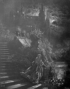 Gravure ancienne par Gustave Doré d'un conte de Perrault - Peau d'âne