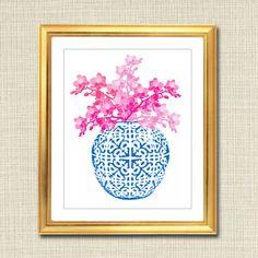 Blue and White Ginger Jar Digital Art Print Chinoisierie Pink Ginger, Jar Art, Coral Print, Thing 1, Pink Orchids, Floral Wall Art, Ginger Jars, Blue And White, Art Prints