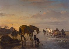 Joseph Jodocus Moerenhout (1801-1874) Horses and sledges on a frozen river, oil on canvas 85.0 x 118.5 cm., signed l.r. Collection Simonis & Buunk, The Netherlands.