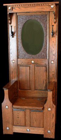 Antique Oak Entry Hall Tree Incorporate Mirror Amp Facade