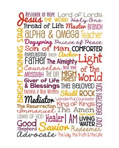Your place to buy and sell all things handmade The Names of Jesus - print - Christian Wall Art - Multi-Color Red, Purple, Gold, Brown Bible Scriptures, Bible Quotes, Attributes Of God, Identity In Christ, Christian Wall Art, Christian Quotes, Names Of God, Christian Inspiration, Trust God