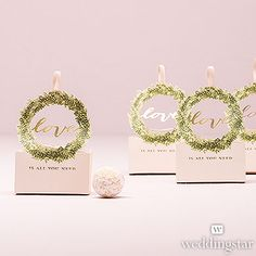Love Wreath Favor Box with Ribbon (Set of 10)