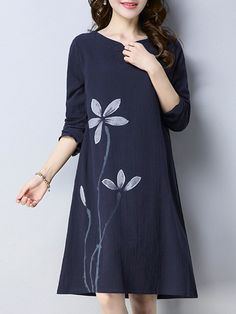 Vintage Floral Print Frog Button Long Sleeve Dresses For Women is high-quality, see other cheap summer dresses on NewChic. Hand Painted Dress, Painted Clothes, Kurti Embroidery Design, Embroidery Fashion, Fabric Paint Shirt, Dress Painting, Cheap Summer Dresses, Sleeve Dresses, Dresses With Sleeves