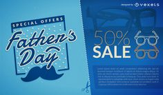 Father's Day sale design featuring an illustrated mustache. It also says Father's Day, special offer and sale. The texts and blue tones are editable. Fathers Day Sale, Dad Day, Electronic Media, Layout Template, Printed Materials, Lorem Ipsum, Etsy Store, Graphic Design, Blue