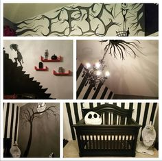 Nightmare Before Christmas baby room! Baby Room Themes, Nursery Themes, Nursery Ideas, Baby Rooms, Kids Rooms, Tim Burton, Christmas Themes, Kids Christmas, Gothic Baby