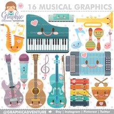 Musical Clipart - Musical Graphics for Commercial Use by www.GraphicAdventure.etsy.com