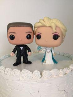 Funko pop Elsa y el novio Pastel de cumpleaños personalizados set congelado de Disney