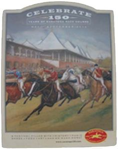 Celebrate 150 years of Saratoga's Race Course with this unique oval wooden print, Saratoga Shopping at Crafters Gallery