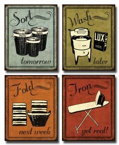 Laundry Set - mini Mini Prints, Vintage, Signs Art Print Poster by N Harbick, 8 x 10 Gango