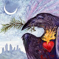 ROZEMARIJN is voor REMEMBRANCE ※ Raven hart godin sjamaan Crow Dolmen permanent steen Sicilië Italiaanse Celtic Nordic Viking Art Print