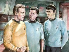Star Trek - TOS crew by Lei-Feiyang on deviantART ~ watercolor ~ Captain Kirk {William Shatner} ~ Dr. McCoy - Bones {DeForest Kelly} ~ Mr. Spock {Leonard Nimoy}
