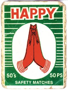 HAPPY, vintage matchbox label