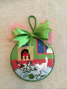 Good Night a Moon Ornament ~ canvas by Silver Needle