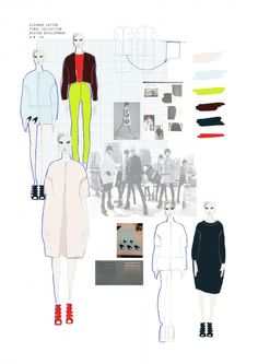 moodboard of collection consisting of sketches, colour choice, inspirational photographs. Fashion Portfolio Layout, Fashion Design Sketches, Portfolio Design, Mode Collage, Fashion Sketchbook, Student Fashion, Fashion Project, Illustration Sketches, Fashion Line
