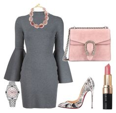 """Untitled #279"" by arta13 on Polyvore featuring Milly, Christian Louboutin, Nest, Bobbi Brown Cosmetics, Gucci and Rolex"