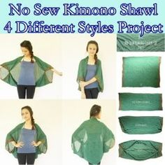 No Sew Kimono Shawl 4 Different Styles Project Homesteading - The Homestead Sur. No Sew Kimono Shawl 4 Different Styles Project Homesteading - The Homestead Survival . Sewing Clothes, Diy Clothes, Fashion Clothes, Kimono Diy, Sewing Hacks, Sewing Projects, Convertible Clothing, Diy Fashion Projects, Clothing Hacks