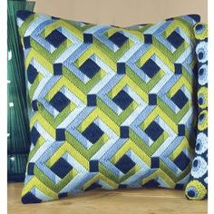 Squares Pillow Top - Cross Stitch, Needlepoint, Embroidery Kits – Tools and Supplies