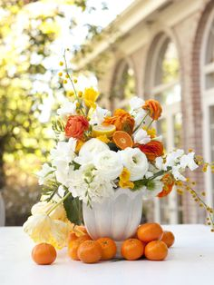 orange and white centerpiece