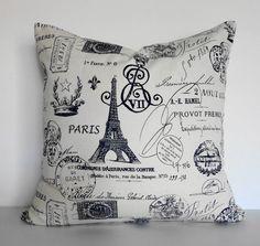 Shabby Chic Decorative Paris Traveler Stamp Passport Pillow Cover, 18 x 18,  Eifel Tower, Blue and White