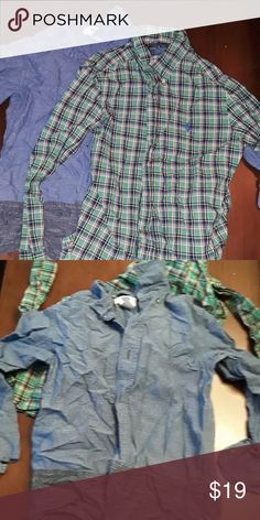 Set of 2 boys button downs size 7 2 tone Old Navy Chambray and Ralph Lauren Polo plaid no tears or stains all buttons intact will iron before shipping. Long sleeved. Smoke/pet free home Shirts & Tops Button Down Shirts