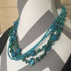 Turquiose Chip Bead Necklace and Earring Set by MoonbornVintage