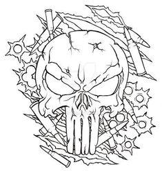 Punisher Skull Tattoo, Evil Skull Tattoo, Skull Tattoo Design, Tattoo Design Drawings, Skull Tattoos, Tatoos, Tattoo Designs, Skull Coloring Pages, Coloring Book