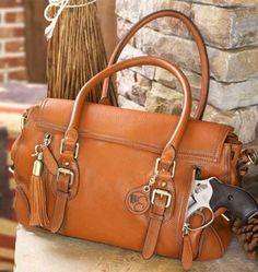 Concealed Carry Purse - Smooth Aged Leather Satchel | GunHandbags.com