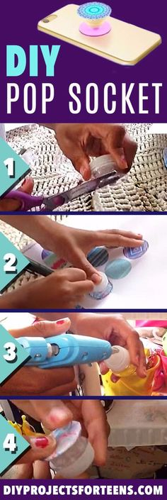 DIY Pop Socket Tutorial and Video - Cool Crafts and DIY Projects for Teens - Easy Craft Ideas for Teenagers - Cheap Phone Accessories, Hacks and Gadgets - Fun Ideas for Teens and Kids To Make This Summer - Step by Step Tutorial and Instructions - Crafting Crafts For Teens To Make, Diy For Teens, Crafts To Do, Art Ideas For Teens, Craft Ideas For Teen Girls, Cool Crafts, Fun Things To Make For Teens, Diy Room Decor For Teens Easy, Fun Teen Crafts