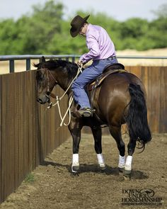 Riding Exercise #5: Yield the Hindquarters on the Fence Goal: To be able to walk down the fence and yield the horse's hindquarters 90 degrees so that he faces the fence. The horse should be soft and light in your hands and responsive to your leg as you do this. More about the exercise: https://www.downunderhorsemanship.com/Store/Search/intermediate