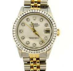 Rolex Mid Size 18k Gold Steel MOP Diamond Watch  68273 Featured in our upcoming auction on June 14!