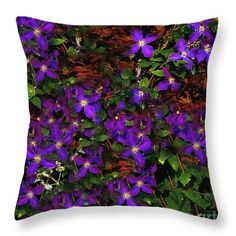 """Put a some purple in your life with this beautiful throw pillow """"Clematis Curtain"""" © 2015 RC deWinter Available in several sizes and other home decor items."""