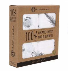 Organic Swaddle Blankets - Grey Feather & Dandelion Seeds