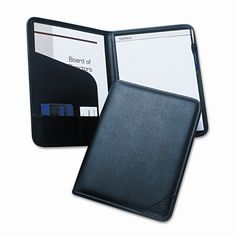Pad Holder, Leather Look Padded Vinyl, Document Storage Pockets/Card Slots, BLK
