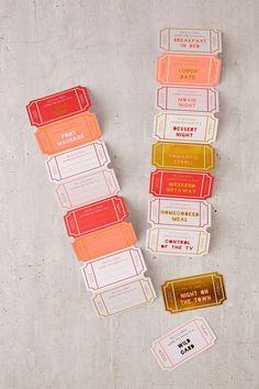 Meri Meri Paper Love Tokens, DIY, ticket, illustration, colour, valentines, greeting cards