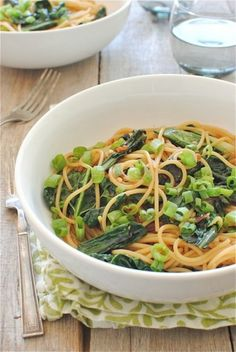sesame noodles with garden greens: recipe here