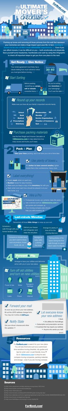 The Ultimate Mover's Checklist via ForRent.com, Homes.com's exclusive apartment listing provider. #ForRent.com #apartment #moverschecklist #moving #infographic   #homes