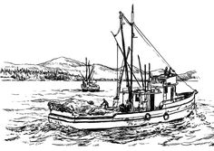 Catching Fish In The Sea With Fishing Boat Coloring Pages : Kids Play Color Boat Drawing, Line Drawing, Splat Le Chat, Alaska Salmon Fishing, Seagull Tattoo, Pixar, Ship Paintings, Boat Art, Online Coloring