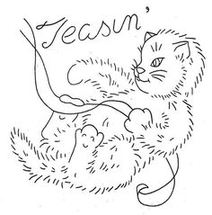 Hand Embroidery Pattern 3183 Sparky the Kitten for Towels 1940s