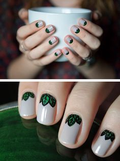 The grey tone as the core color of the nail allows this leaf pattern to appear less light and cutesy and more serious and woodsy.