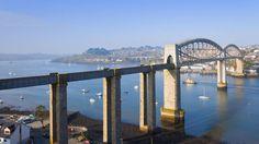 Royal Albert Bridge across the River Tamar, Devon, Plymouth, England (© Kerry Dunstone/AGE Fotostock)(Bing United Kingdom)