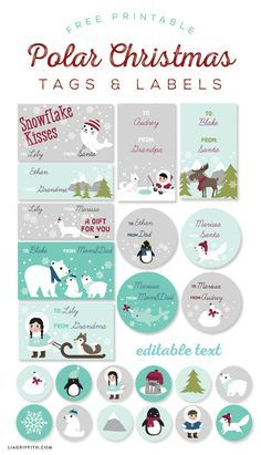 Free Printable Polar labels and tags for Kids designed by @liag