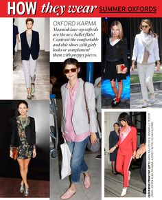 How They Wear: Summer Oxfords - Celebrity Style and Fashion from WhoWhatWear. Loving AT's style.