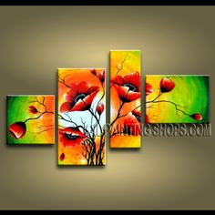 Large Contemporary Wall Art Oil Painting On Canvas Gallery Stretched Poppy Flowers. This 4 panels canvas wall art is hand painted by Anmi.Z, instock - $132. To see more, visit OilPaintingShops.com