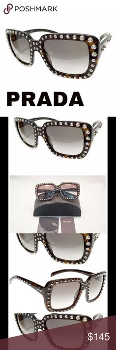 Authentic Havana Silver Stud Ornate Sunglasses Brand new in box, rectangle, authentic, Ornate Sunglasses by Prada in Havana with Silver metal studs, hand applied, frame is hand crafted from brown Italian acetate. Prada logo adorns temples. The lenses are polycarbonate, and finished with hard coating. Have 100% UV protection. Lens Category 2 filter with Grey gradient lens, made in Italy. Model # SPR 30Q 2AU-0A7 inside right arm. Size 56-20-140 Comes with Prada case, cleaning cloth and info guide. Prada Sunglasses, Black Gift Boxes, Silver Metal, Havana, Black And Brown, Studs, Shop My, Brand New