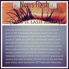 Don't do this to your lashes. Try our 3D mascara and use all natural products. Rockurlashez.com