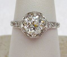 97pt European Cut Vintage Halo Style Platinum and by KlinesJewelry, $3995.00