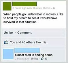 Haha I thought I was the only one who did this. Lol but never tried it with Finding Nemo Funny Shit, Funny Cute, The Funny, Funny Stuff, Funny Jokes, Food Jokes, That's Hilarious, Funny Tweets, Haters Gonna Hate