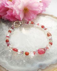 Pink Tourmaline, Herkimer Diamond, Amethyst, Rose Quartz Bracelet